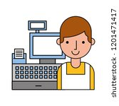 man cashier cash register... | Shutterstock .eps vector #1201471417