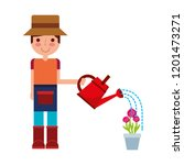 gardener boy watering can and... | Shutterstock .eps vector #1201473271