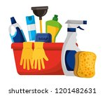 cleaning products and supplies | Shutterstock .eps vector #1201482631