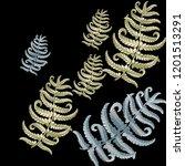 fern frond herbs  tropical... | Shutterstock .eps vector #1201513291