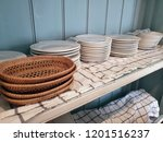 kitchenware on shelf in country ... | Shutterstock . vector #1201516237