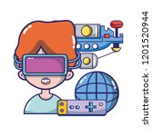 fpv goggles technology cartoons | Shutterstock .eps vector #1201520944