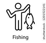 a fisherman holding freshwater... | Shutterstock .eps vector #1201522141