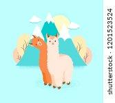 cute llama or alpaca flat... | Shutterstock .eps vector #1201523524