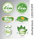 set of green vintage bio eco... | Shutterstock .eps vector #120155359