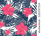 summer seamless pattern with... | Shutterstock .eps vector #1201557214