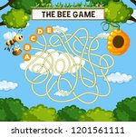the bee maze game template... | Shutterstock .eps vector #1201561111