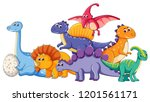 set of different dinosaur... | Shutterstock .eps vector #1201561171