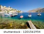 beautiful symi island ... | Shutterstock . vector #1201561954