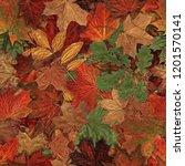 Fallen Autumn Leaves Seamless...