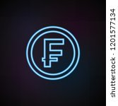 coin franc icon in neon style....
