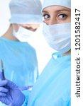 surgeon doctor in mask...   Shutterstock . vector #1201582417