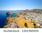 view on st paul s bay in lindos ... | Shutterstock . vector #1201585054