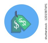 money tag colored icon in badge ...