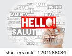 hello word cloud with marker in ... | Shutterstock . vector #1201588084