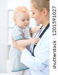 doctor and patient in hospital. ...   Shutterstock . vector #1201591027