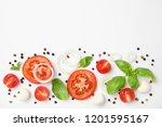 fresh green basil leaves ...   Shutterstock . vector #1201595167