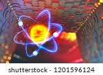 Atomic reactor. Experiments with the hadron collider. Investigation of the structure of an atom. 3D illustration of an innovative breakthrough in science