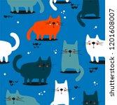 happy cats  hand drawn backdrop.... | Shutterstock .eps vector #1201608007