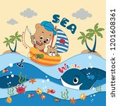 bear fishing in the ocean with... | Shutterstock .eps vector #1201608361