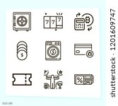 simple set of 9 icons related... | Shutterstock .eps vector #1201609747