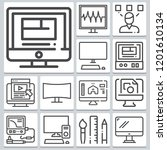 set of 13 monitor outline icons ... | Shutterstock .eps vector #1201610134