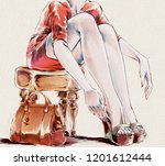 fashion illustration with... | Shutterstock . vector #1201612444