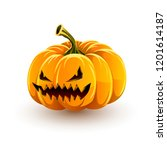 very angry jack o'lantern for... | Shutterstock .eps vector #1201614187