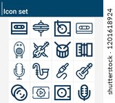 contains such icons as music...   Shutterstock .eps vector #1201618924