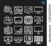 set of 16 monitor outline icons ... | Shutterstock .eps vector #1201623241