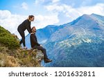 the happy man and a woman... | Shutterstock . vector #1201632811