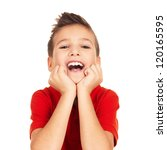 Portrait of  laughing happy boy looking at camera isolated on white background - stock photo
