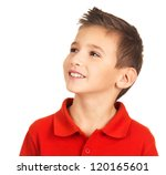 Photo of pretty young happy boy looking away over white background - stock photo