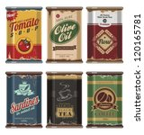 Retro and vintage food cans vector collection. No gradients, no transparencies, no drop shadow effects, only fill colors. Grunge effects can be easily removed for brand new can.