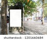 mockup of outdoor newspaper... | Shutterstock . vector #1201660684