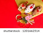 dolls of boar. japanese new... | Shutterstock . vector #1201662514