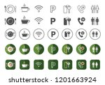 hotel icons pack   eco theme   | Shutterstock .eps vector #1201663924