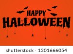 happy halloween text banner on... | Shutterstock .eps vector #1201666054