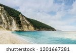 myrthos beach after rain with... | Shutterstock . vector #1201667281