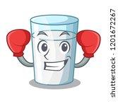 boxing character milk glass in... | Shutterstock .eps vector #1201672267