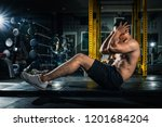 muscular guy doing sit ups at... | Shutterstock . vector #1201684204