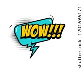 wow    comic style phrase with... | Shutterstock .eps vector #1201696171