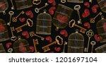 embroidery vintage keys  red... | Shutterstock .eps vector #1201697104