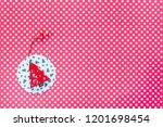 christmas ornament on polka... | Shutterstock . vector #1201698454