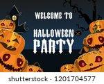 halloween party poster template....   Shutterstock .eps vector #1201704577