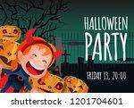 halloween party poster design.... | Shutterstock .eps vector #1201704601