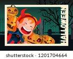 halloween flyer design. girl in ... | Shutterstock .eps vector #1201704664