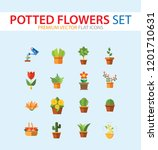 potted flowers icon set. money... | Shutterstock .eps vector #1201710631
