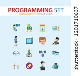 programming icon set. robot... | Shutterstock .eps vector #1201710637