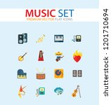 music icon set. trumpet player... | Shutterstock .eps vector #1201710694